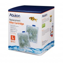 "Aqueon Replacement Filter Cartridges 12 pack Large 5.24"" x 1.75"" x 5.7"""