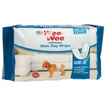 Four Paws Wee-Wee Disposable Male Dog Wraps 12 pack Extra Small / Small White