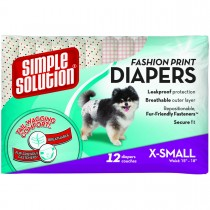 Simple Solution Fashion Disposable Dog Diapers 12 pack Extra Small Pink