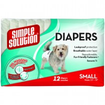 Simple Solution Disposable Dog Diapers 12 pack Small White