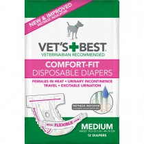 "Vet's Best Comfort-Fit Disposable Female Dog Diaper 12 pack Medium White 5.18"" x 4.75"" x 8.5"""