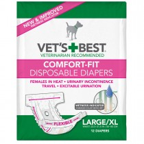 "Vet's Best Comfort-Fit Disposable Female Dog Diaper 12 pack Large / Extra Large White 8.25"" x 5"" x 6.38"""