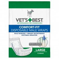 "Vet's Best Comfort-Fit Disposable Male Dog Wrap 12 pack Large White 5.88"" x 4.75"" x 8.38"""