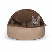 "K&H Pet Products Self-Warming Kitty Bed Hooded Large Chocolate/Tan 20"" x 20"" x 12.5"""