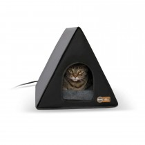"K&H Pet Products Heated A-Frame Cat House Gray / Black 18"" x 14"" x 14"""