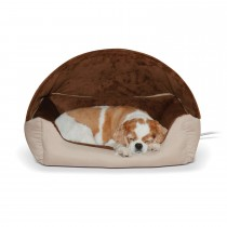 """K&H Pet Products Thermo-Hooded Pet Lounger Bed Tan/Chocolate 20"""" x 25"""" x 13"""""""