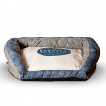 "K&H Pet Products Vintage Bolster Pet Bed Genuine Logo Small Gray / Blue 21"" x 30"" x 7"""