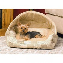"""K&H Pet Products Lounge Sleeper Hooded Tan Patchwork 20"""" x 25"""" x 13"""" - KH7600"""