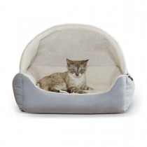 "K&H Pet Products Lounge Sleeper Hooded Pet Bed Gray 20"" x 25"" x 13"""