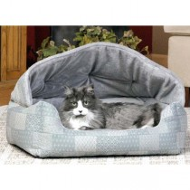 """K&H Pet Products Lounge Sleeper Hooded Teal Patchwork 20"""" x 25"""" x 13"""" - KH7610"""