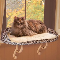 """K&H Pet Products Deluxe Kitty Sill with Bolster Leopard 14"""" x 24"""" x 10"""" – KH9097"""