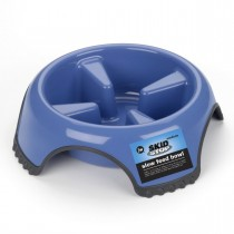 "Petmate JW Skid Stop Slow Feed Dog Bowl Medium Blue 8.5"" x 8.5"" x 2.5"""