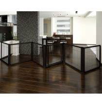 "Richell Convertible Elite Pet Gate 6 Panel Black 197.5"" x 0.8"" x 31.5"" - R94188"