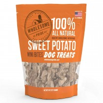 "Wholesome Pride Sweet Potato Mini Bites Dog Treats 8 ounces 2.75"" x 7.5"" x 8.5"""