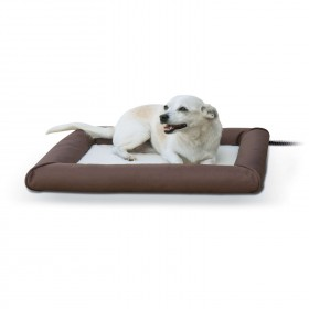 """K&H Pet Products Deluxe Lectro-Soft Outdoor Heated Pet Bed Small Brown 19.5"""" x 23"""" x 2.5"""""""